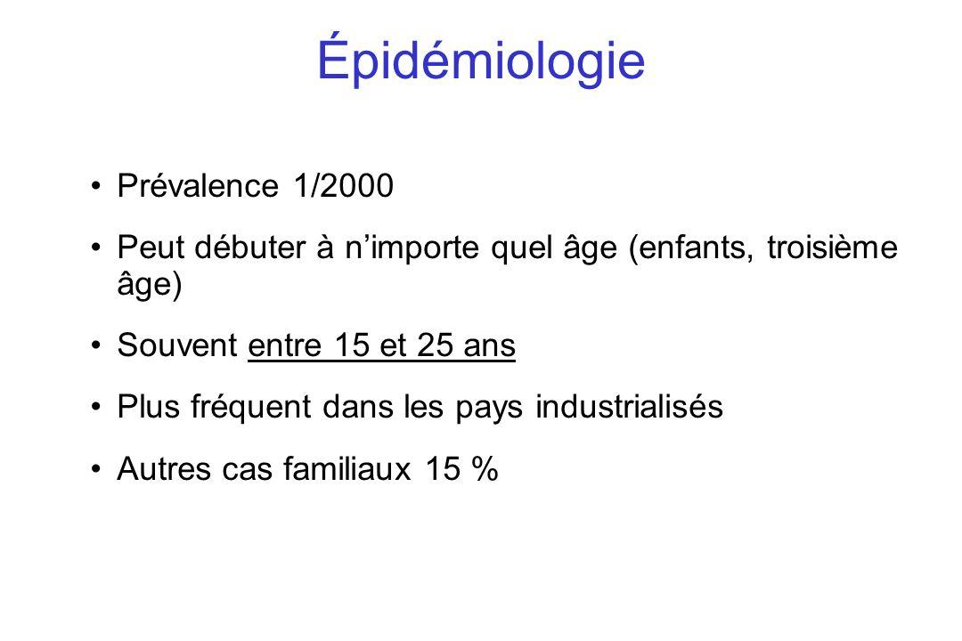 Prévalence 1/2000 Peut débuter à nimporte quel âge (enfants, troisième âge) Souvent entre 15 et 25 ans Plus fréquent dans les pays industrialisés Autr