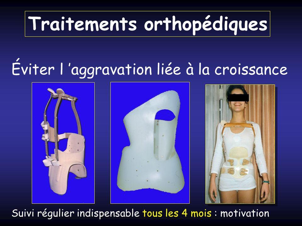 Traitements orthopédiques Éviter l aggravation liée à la croissance Suivi régulier indispensable tous les 4 mois : motivation