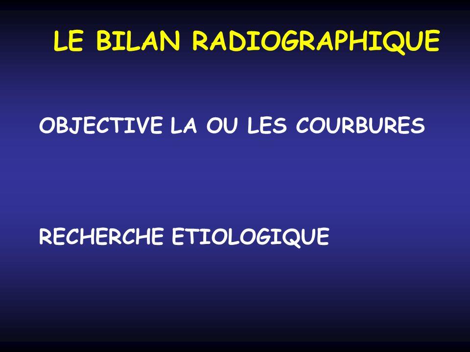 LE BILAN RADIOGRAPHIQUE OBJECTIVE LA OU LES COURBURES RECHERCHE ETIOLOGIQUE