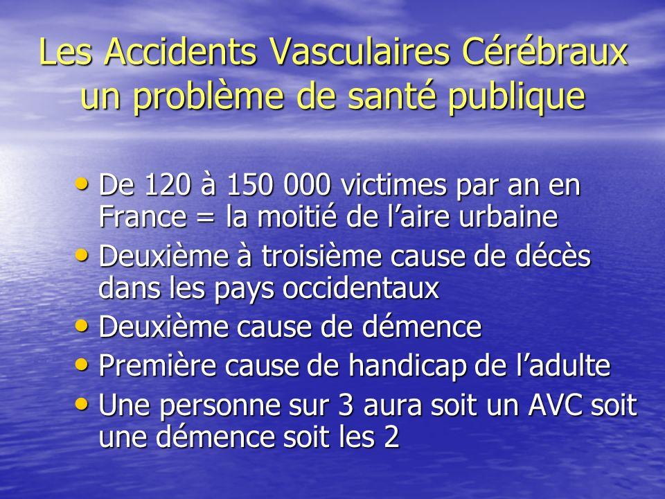 Les Accidents Vasculaires Cérébraux un problème de santé publique De 120 à 150 000 victimes par an en France = la moitié de laire urbaine De 120 à 150