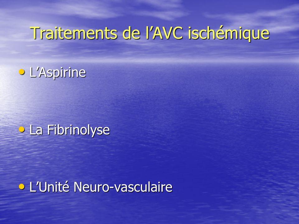 Traitements de lAVC ischémique LAspirine LAspirine La Fibrinolyse La Fibrinolyse LUnité Neuro-vasculaire LUnité Neuro-vasculaire