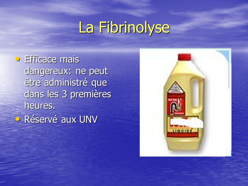 La Fibrinolyse Efficace mais dangereux: ne peut être administré que dans les 3 premières heures. Efficace mais dangereux: ne peut être administré que
