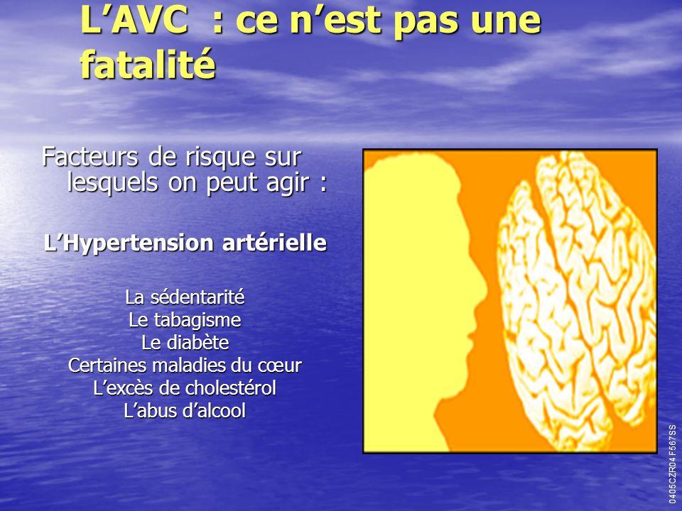 LAVC : ce nest pas une fatalité Facteurs de risque sur lesquels on peut agir : LHypertension artérielle La sédentarité Le tabagisme Le diabète Certain