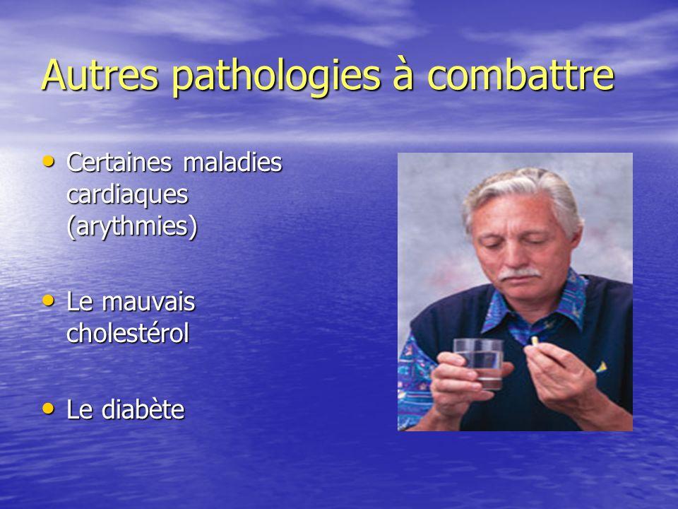 Autres pathologies à combattre Certaines maladies cardiaques (arythmies) Certaines maladies cardiaques (arythmies) Le mauvais cholestérol Le mauvais c