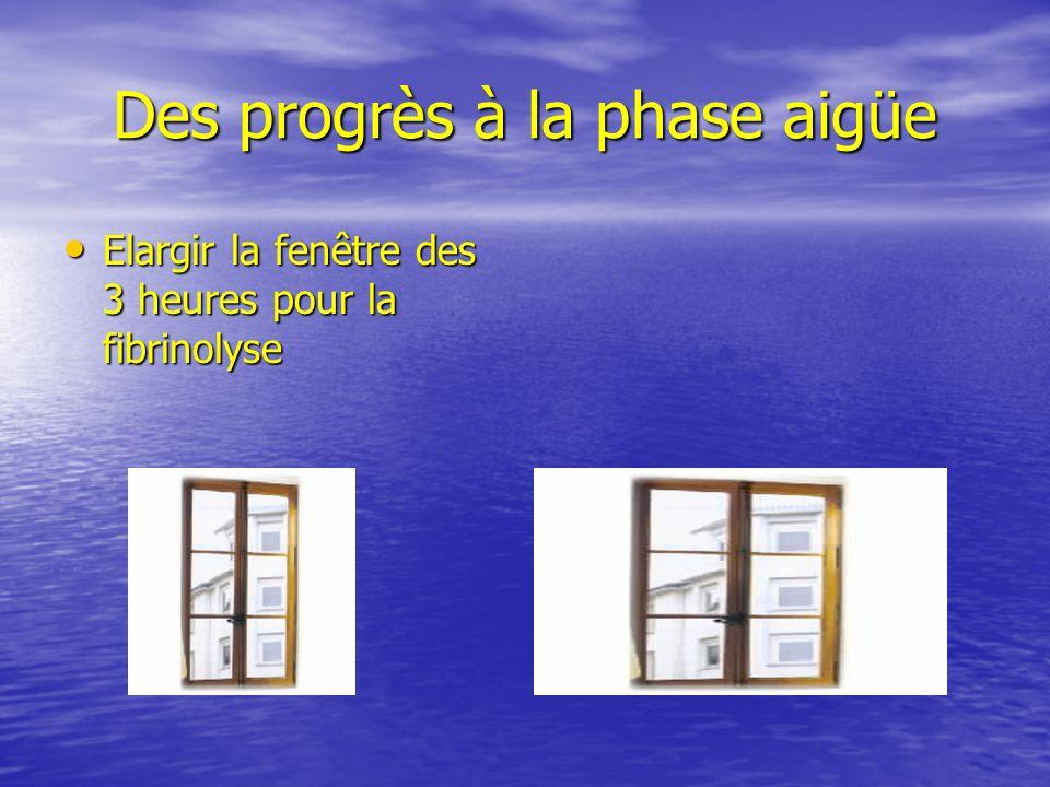 Des progrès à la phase aigüe Elargir la fenêtre des 3 heures pour la fibrinolyse Elargir la fenêtre des 3 heures pour la fibrinolyse