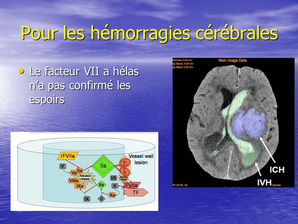Pour les hémorragies cérébrales Le facteur VII a hélas na pas confirmé les espoirs Le facteur VII a hélas na pas confirmé les espoirs
