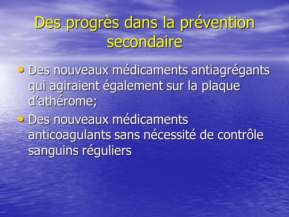 Des progrès dans la prévention secondaire Des nouveaux médicaments antiagrégants qui agiraient également sur la plaque dathérome; Des nouveaux médicam