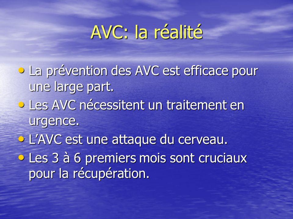 AVC: la réalité La prévention des AVC est efficace pour une large part. La prévention des AVC est efficace pour une large part. Les AVC nécessitent un