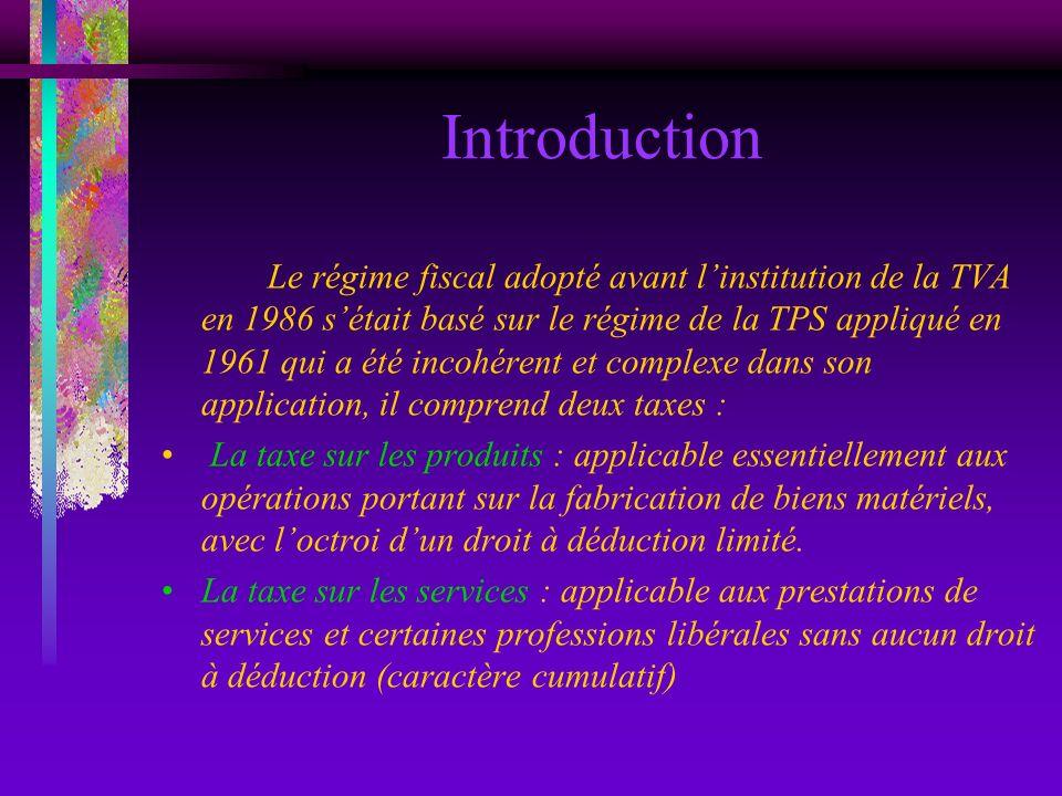 Introduction Le régime fiscal adopté avant linstitution de la TVA en 1986 sétait basé sur le régime de la TPS appliqué en 1961 qui a été incohérent et