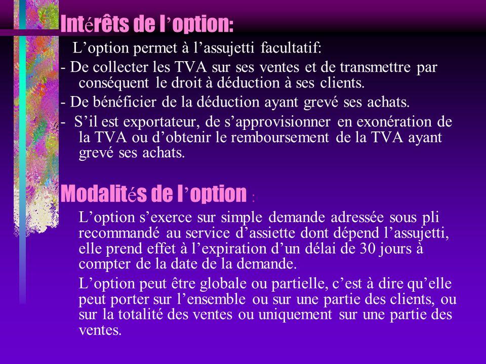 Int é rêts de l option: Loption permet à lassujetti facultatif: - De collecter les TVA sur ses ventes et de transmettre par conséquent le droit à dédu