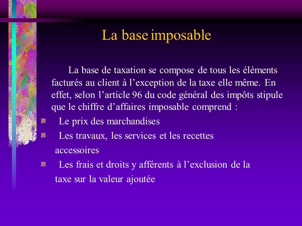 La base imposable La base de taxation se compose de tous les éléments facturés au client à lexception de la taxe elle même. En effet, selon larticle 9