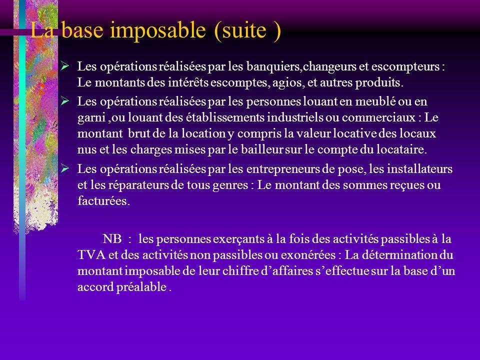 La base imposable (suite ) Les opérations réalisées par les banquiers,changeurs et escompteurs : Le montants des intérêts escomptes, agios, et autres