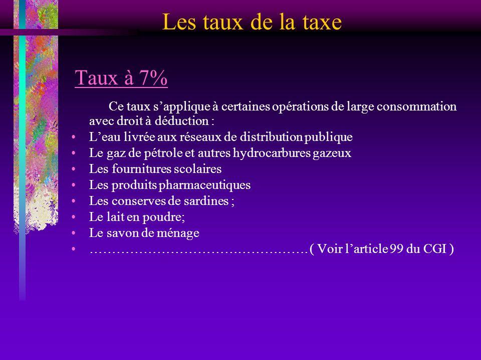Les taux de la taxe Taux à 7% Ce taux sapplique à certaines opérations de large consommation avec droit à déduction : Leau livrée aux réseaux de distr
