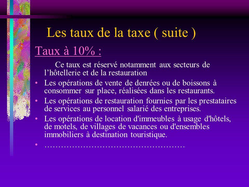 Les taux de la taxe ( suite ) Taux à 10% : Ce taux est réservé notamment aux secteurs de lhôtellerie et de la restauration Les opérations de vente de