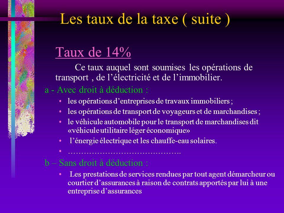 Les taux de la taxe ( suite ) Taux de 14% Ce taux auquel sont soumises les opérations de transport, de lélectricité et de limmobilier. a - Avec droit