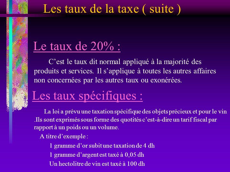Les taux de la taxe ( suite ) Le taux de 20% : Cest le taux dit normal appliqué à la majorité des produits et services. Il sapplique à toutes les autr