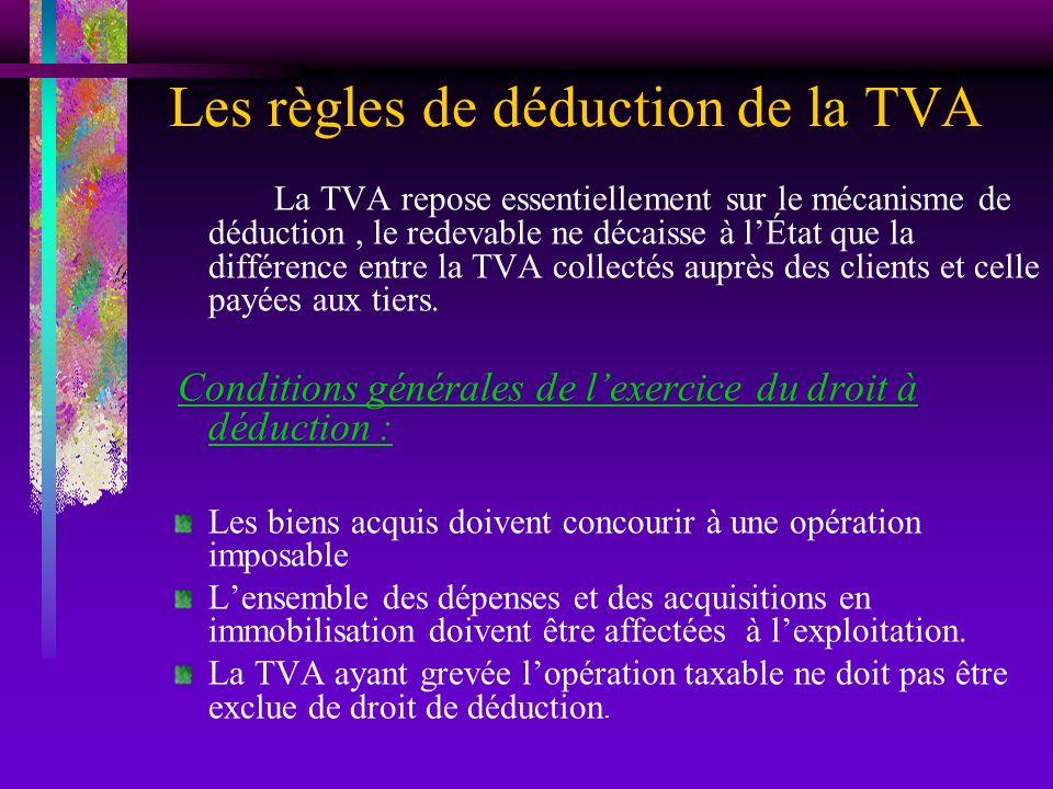 Les règles de déduction de la TVA La TVA repose essentiellement sur le mécanisme de déduction, le redevable ne décaisse à lÉtat que la différence entr