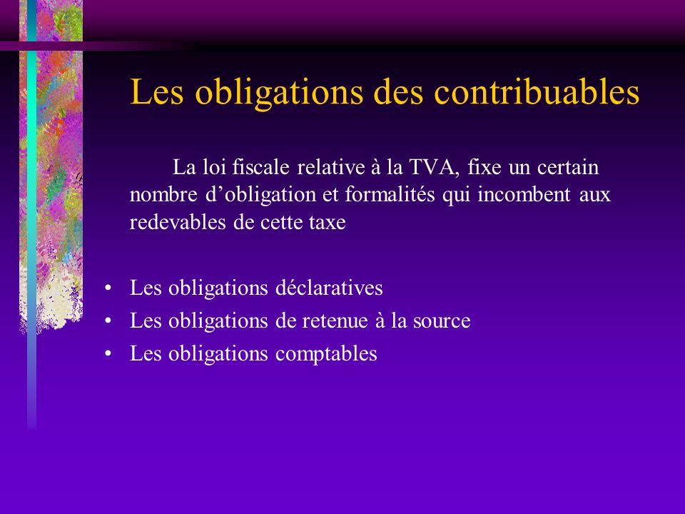 Les obligations des contribuables La loi fiscale relative à la TVA, fixe un certain nombre dobligation et formalités qui incombent aux redevables de c