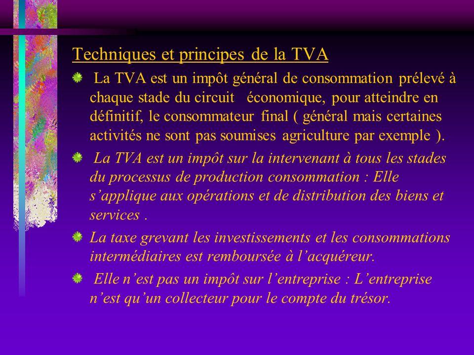 Techniques et principes de la TVA La TVA est un impôt général de consommation prélevé à chaque stade du circuit économique, pour atteindre en définiti