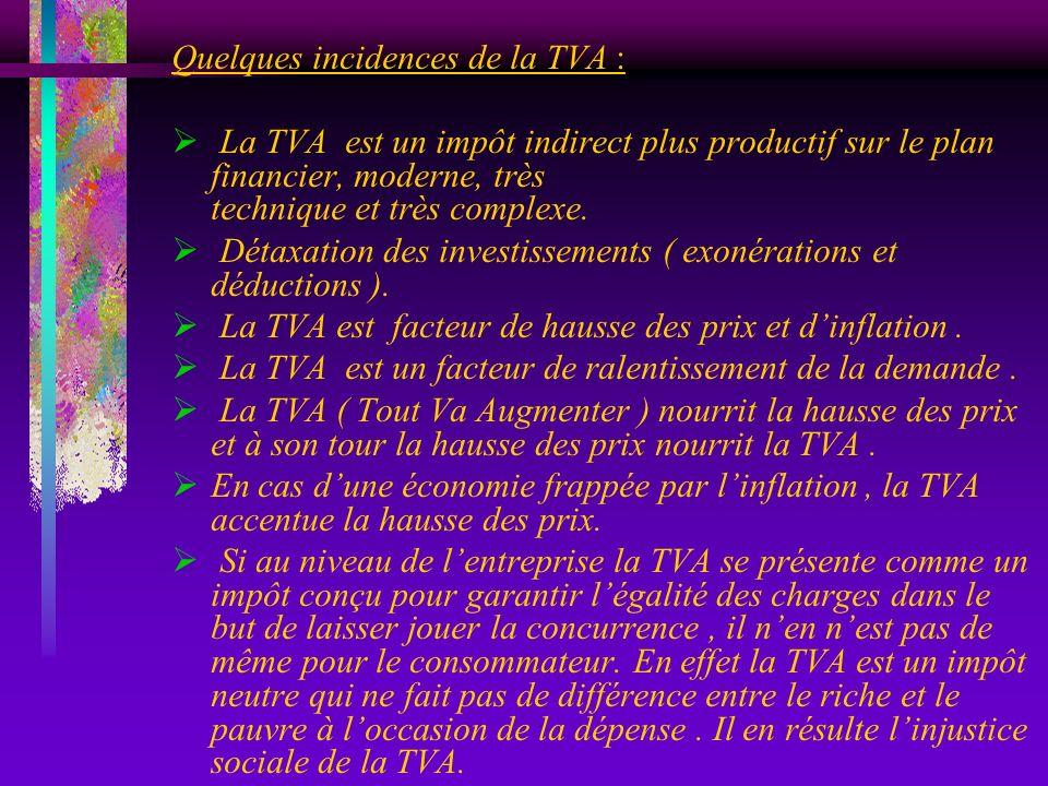 Quelques incidences de la TVA : La TVA est un impôt indirect plus productif sur le plan financier, moderne, très technique et très complexe. Détaxatio