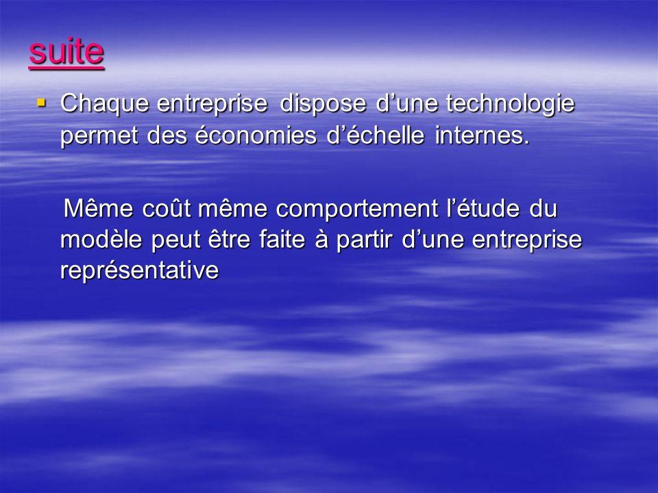 suite Chaque entreprise dispose dune technologie permet des économies déchelle internes.