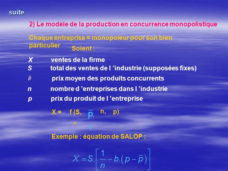 suite 2) Le modèle de la production en concurrence monopolistique Chaque entreprise = monopoleur pour son bien particulier Soient : Xventes de la firme Stotal des ventes de l industrie (supposées fixes) nnombre d entreprises dans l industrie pprix du produit de l entreprise prix moyen des produits concurrents X =f (S, + n, - p) - Exemple : équation de SALOP :
