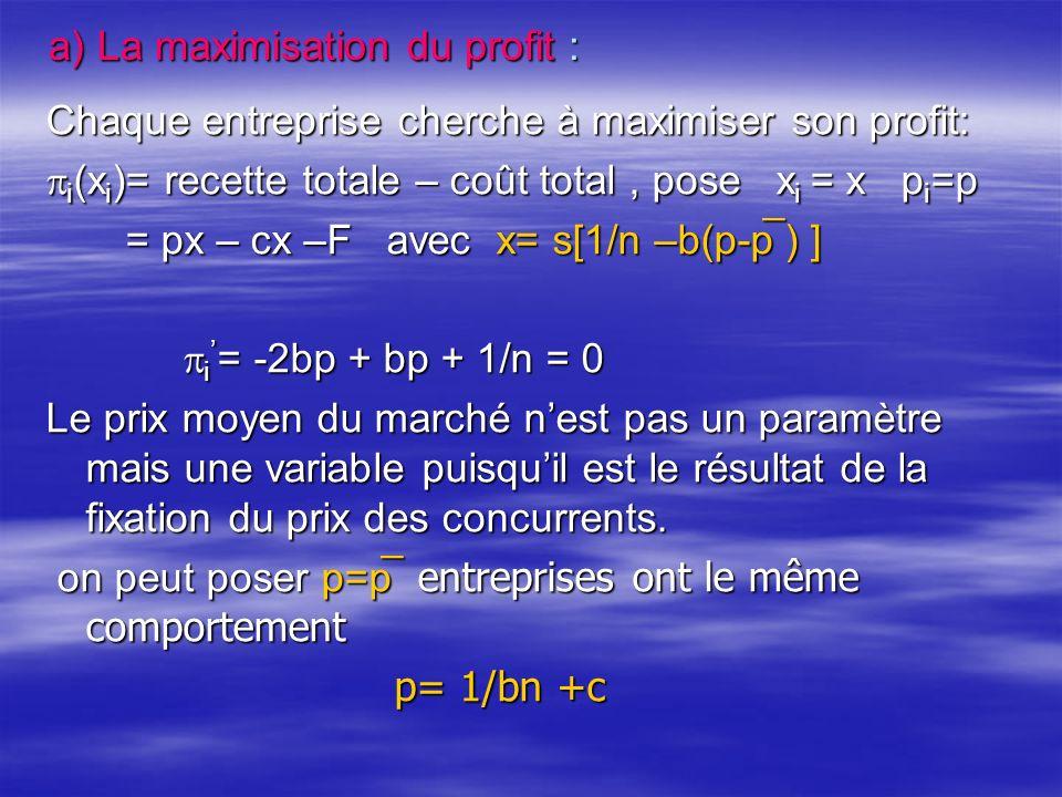 a) La maximisation du profit : Chaque entreprise cherche à maximiser son profit: i (x i )= recette totale – coût total, pose x i = x p i =p i (x i )= recette totale – coût total, pose x i = x p i =p = px – cx –F avec x= s[1/n –b(p-p ̅ ) ] = px – cx –F avec x= s[1/n –b(p-p ̅ ) ] i = -2bp + bp + 1/n = 0 i = -2bp + bp + 1/n = 0 Le prix moyen du marché nest pas un paramètre mais une variable puisquil est le résultat de la fixation du prix des concurrents.