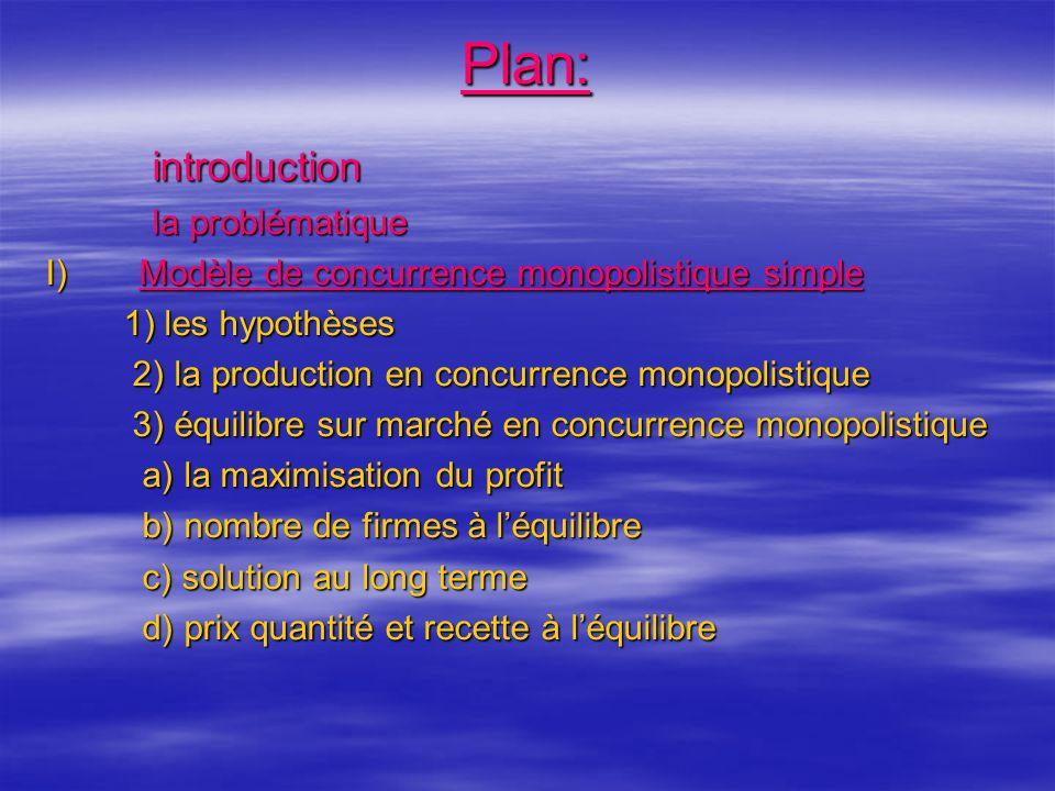 suite II) Concurrence monopolistique et commerce international II) Concurrence monopolistique et commerce international a) les effets de dimension du marché pour les entreprises existantes b) Les effets de lintégration du marché c) Exemple chiffré III) conclusion: