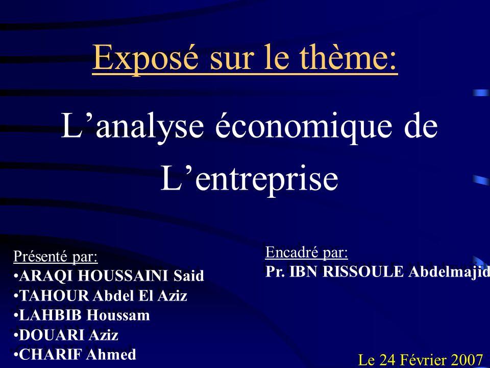 Partie II: Lanalyse économique de lentreprise chez les Keynésiens