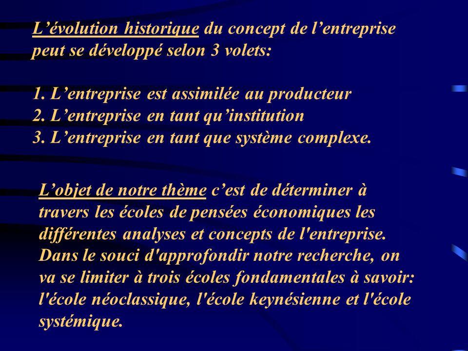 Plan Partie I : Lanalyse économique de lentreprise chez les Néoclassiques A.