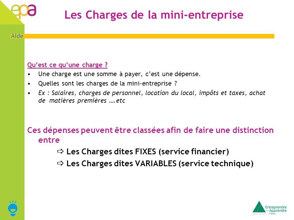 3 Aide Charges Fixes/Service financier Quest ce que les « charges fixes ».