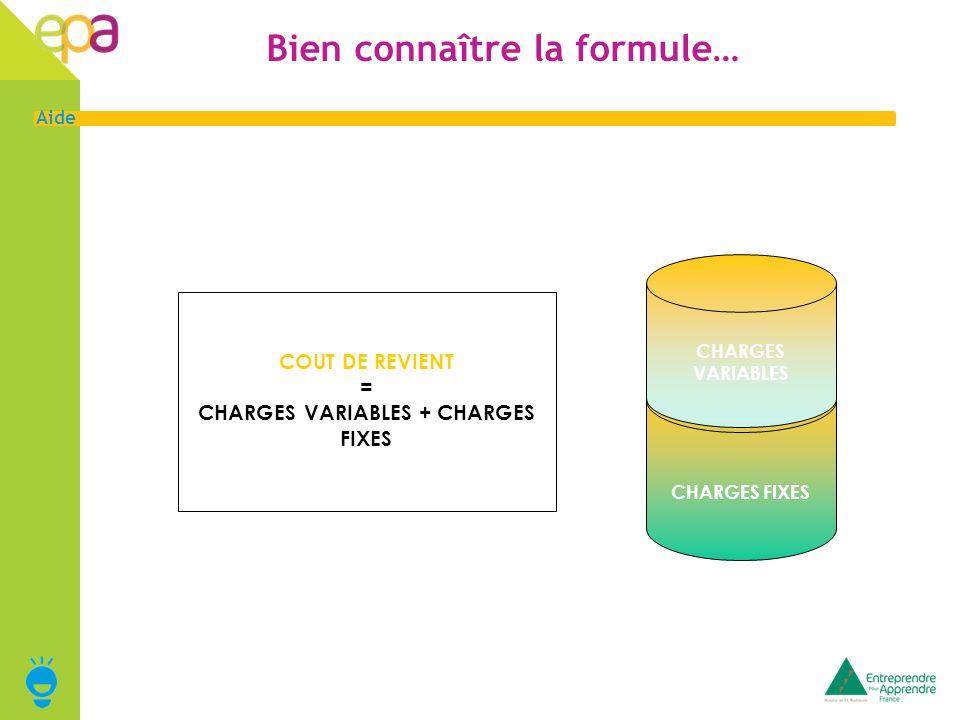 6 Aide Bien connaître la formule… COUT DE REVIENT = CHARGES VARIABLES + CHARGES FIXES CHARGES FIXES CHARGES VARIABLES