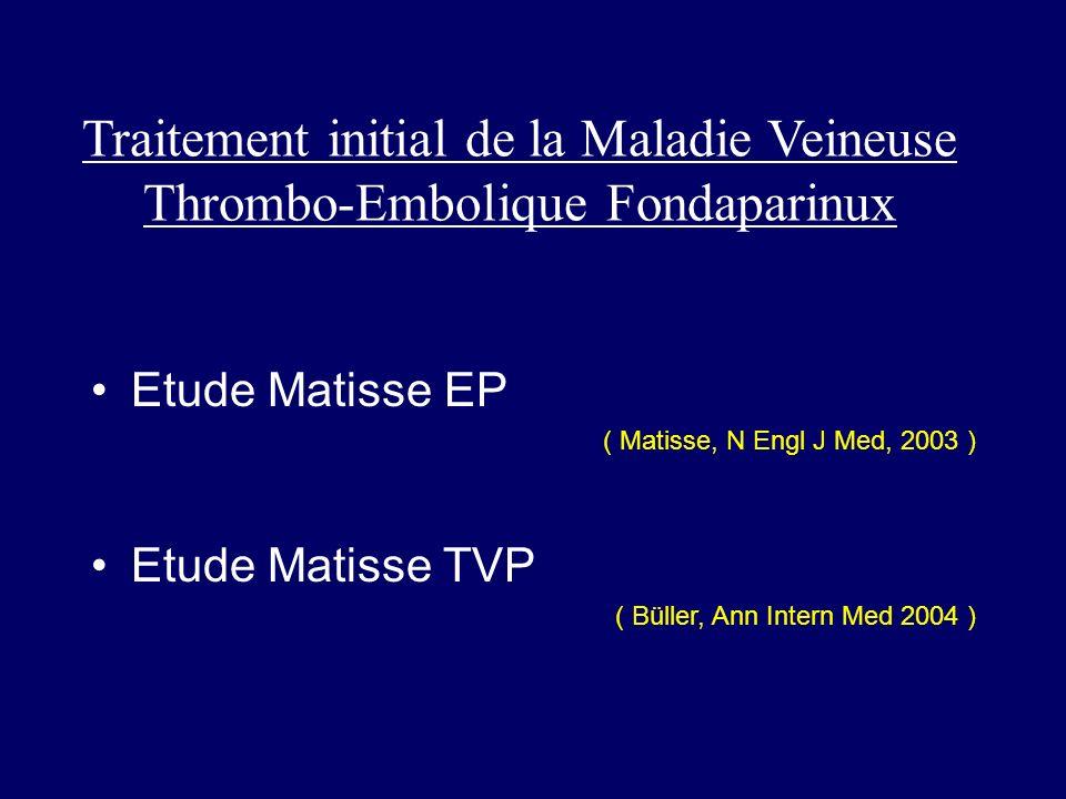 Traitement initial de la Maladie Veineuse Thrombo-Embolique Fondaparinux Etude Matisse EP ( Matisse, N Engl J Med, 2003 ) Etude Matisse TVP ( Büller,