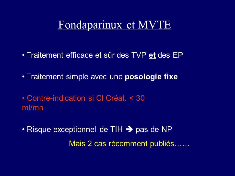 Fondaparinux et MVTE Traitement efficace et sûr des TVP et des EP Traitement simple avec une posologie fixe Risque exceptionnel de TIH pas de NP Mais