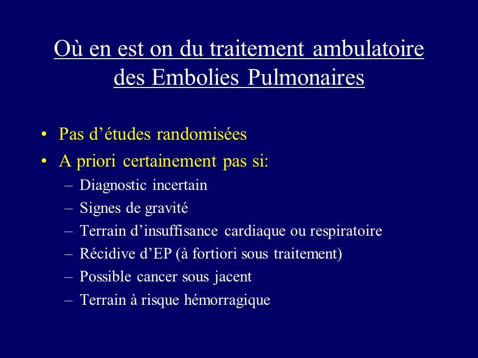 Où en est on du traitement ambulatoire des Embolies Pulmonaires Pas détudes randomisées A priori certainement pas si: –Diagnostic incertain –Signes de