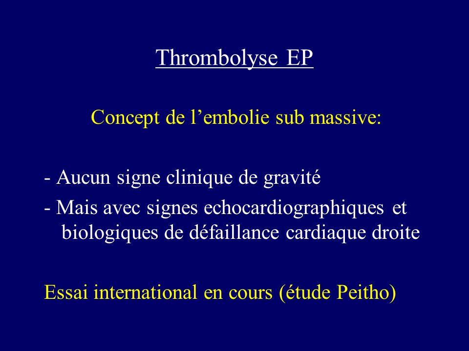 Thrombolyse EP Concept de lembolie sub massive: - Aucun signe clinique de gravité - Mais avec signes echocardiographiques et biologiques de défaillanc