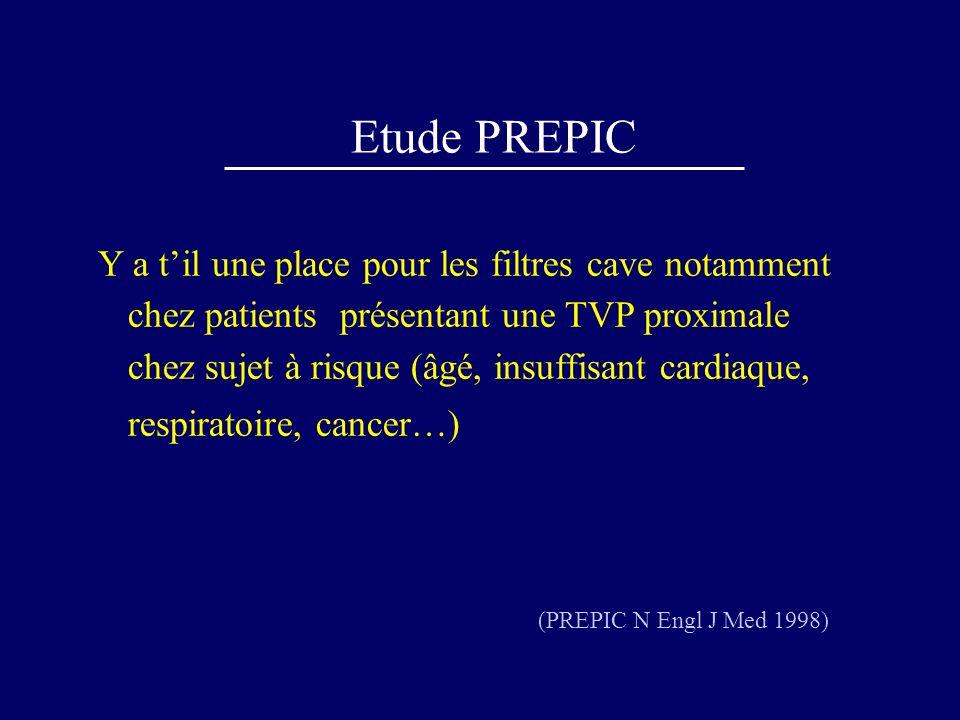 Etude PREPIC Y a til une place pour les filtres cave notamment chez patients présentant une TVP proximale chez sujet à risque (âgé, insuffisant cardia