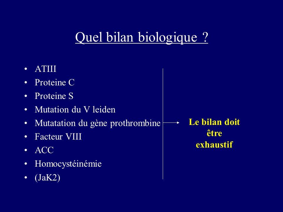 Quel bilan biologique ? ATIII Proteine C Proteine S Mutation du V leiden Mutatation du gène prothrombine Facteur VIII ACC Homocystéinémie (JaK2) Le bi