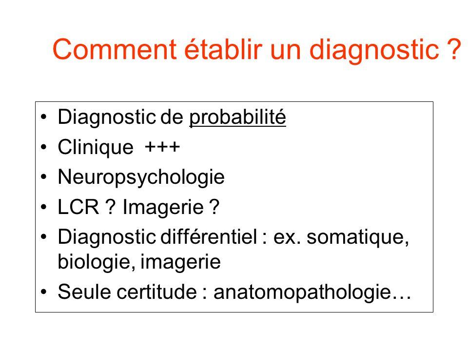 Comment établir un diagnostic ? Diagnostic de probabilité Clinique +++ Neuropsychologie LCR ? Imagerie ? Diagnostic différentiel : ex. somatique, biol