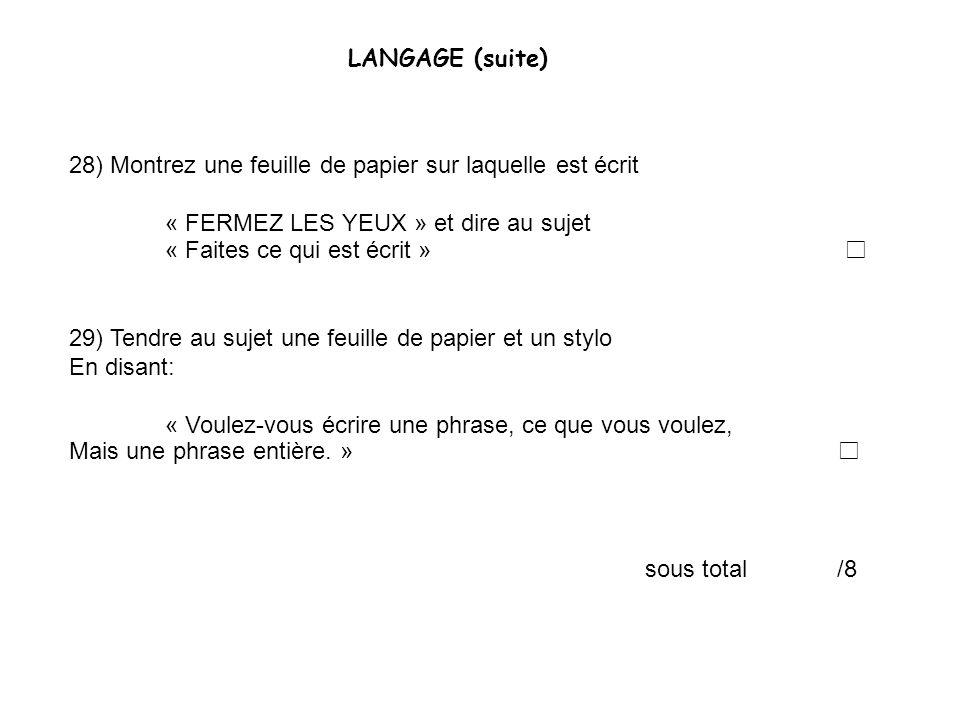28) Montrez une feuille de papier sur laquelle est écrit « FERMEZ LES YEUX » et dire au sujet « Faites ce qui est écrit » 29) Tendre au sujet une feui