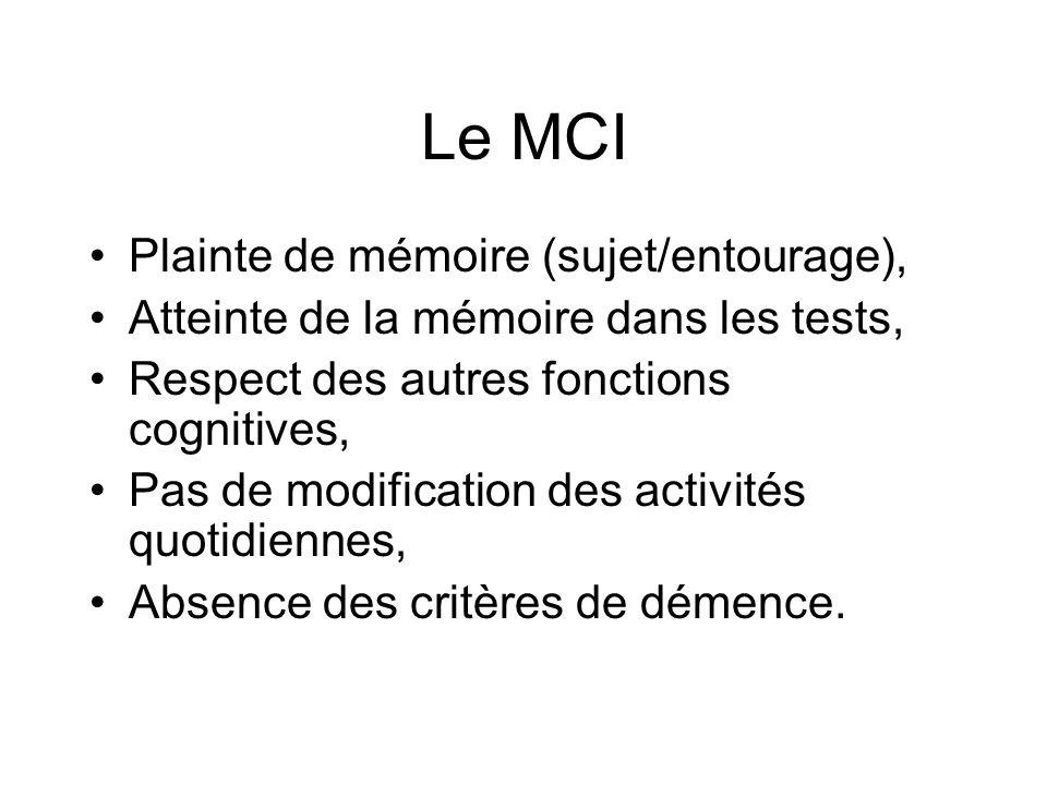 Le MCI Plainte de mémoire (sujet/entourage), Atteinte de la mémoire dans les tests, Respect des autres fonctions cognitives, Pas de modification des a