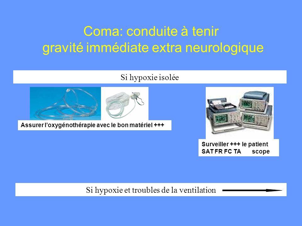 Coma: conduite à tenir gravité immédiate extra neurologique Si hypoxie isolée Si hypoxie et troubles de la ventilation Assurer loxygénothérapie avec l