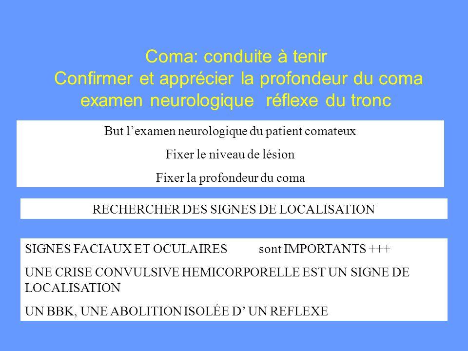 Coma: conduite à tenir Confirmer et apprécier la profondeur du coma examen neurologique réflexe du tronc But lexamen neurologique du patient comateux
