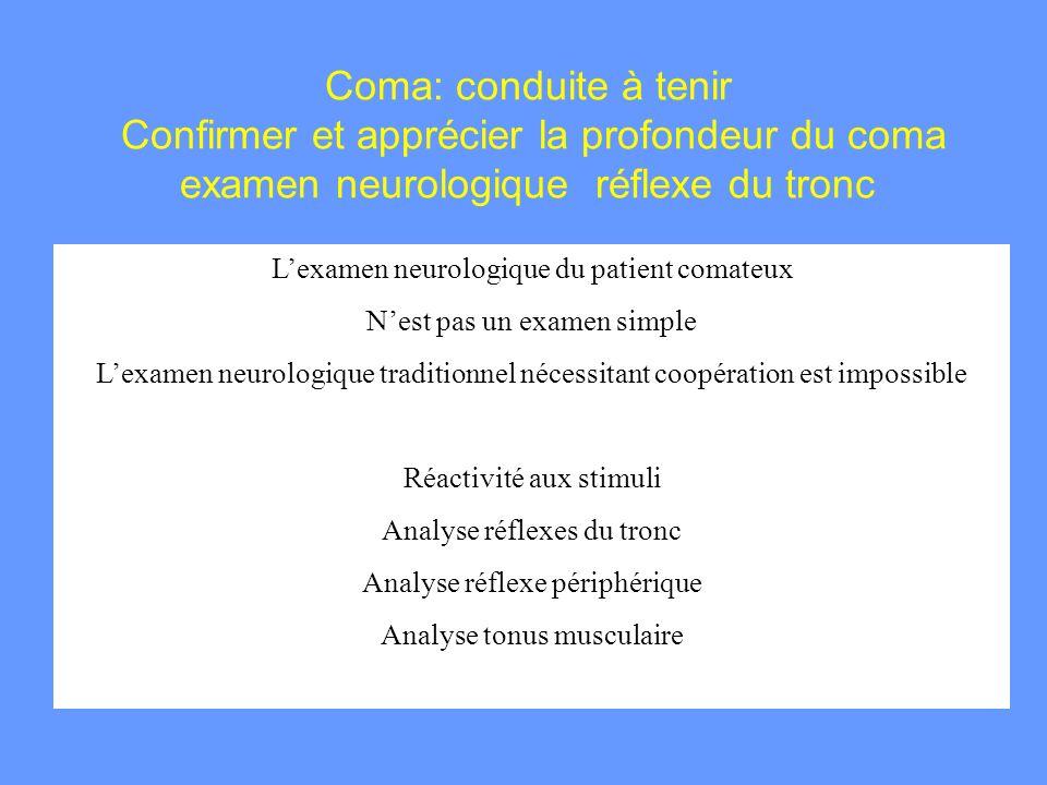 Coma: conduite à tenir Confirmer et apprécier la profondeur du coma examen neurologique réflexe du tronc Lexamen neurologique du patient comateux Nest