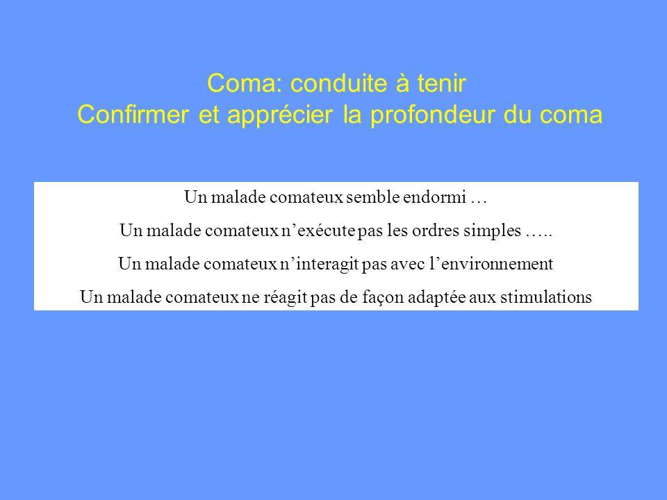 Coma: conduite à tenir Confirmer et apprécier la profondeur du coma Un malade comateux semble endormi … Un malade comateux nexécute pas les ordres sim