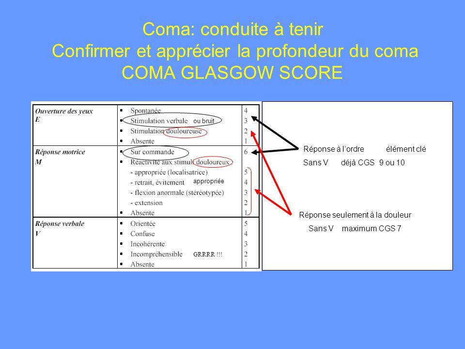 Coma: conduite à tenir Confirmer et apprécier la profondeur du coma COMA GLASGOW SCORE GRRRR !!! appropriée ou bruit Réponse à lordre élément clé Sans
