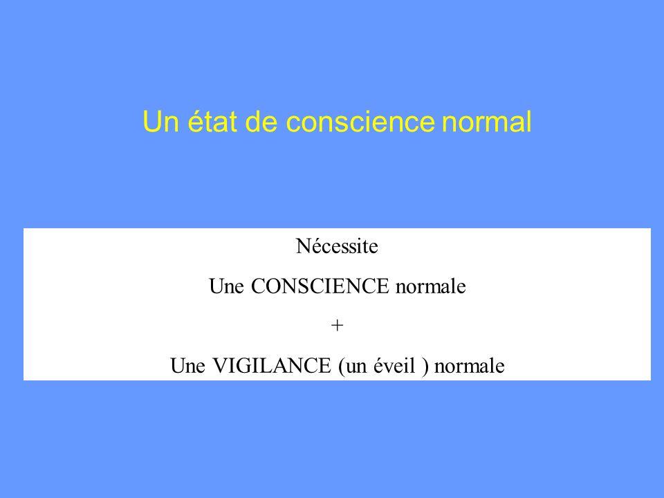 Un état de conscience normal Nécessite Une CONSCIENCE normale + Une VIGILANCE (un éveil ) normale