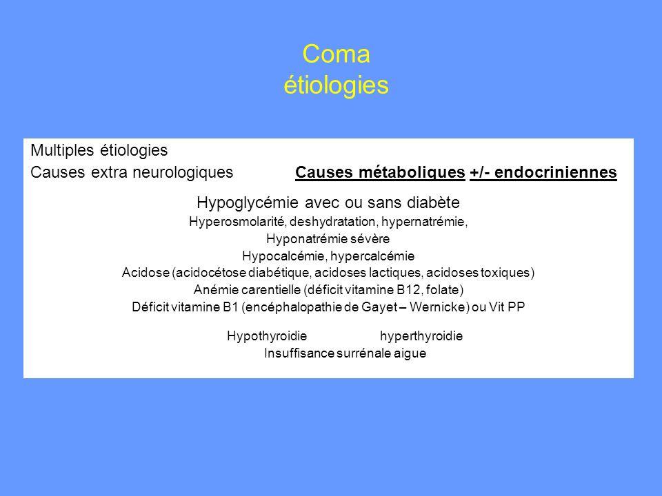Coma étiologies Multiples étiologies Causes extra neurologiques Causes métaboliques +/- endocriniennes Hypoglycémie avec ou sans diabète Hyperosmolari
