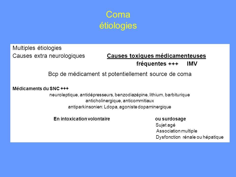 Coma étiologies Multiples étiologies Causes extra neurologiques Causes toxiques médicamenteuses fréquentes +++ IMV Bcp de médicament st potentiellemen