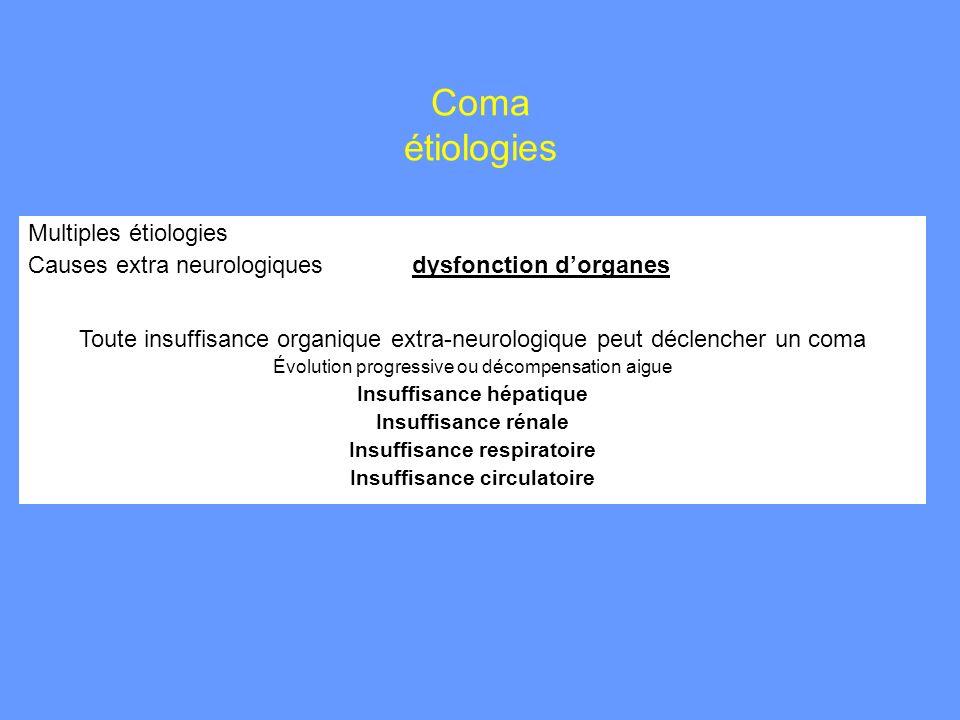 Coma étiologies Multiples étiologies Causes extra neurologiques dysfonction dorganes Toute insuffisance organique extra-neurologique peut déclencher u